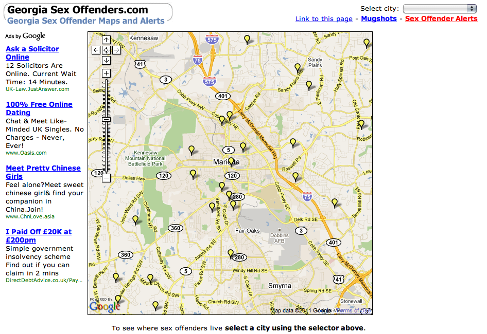 Georgia Sex Offenders Map